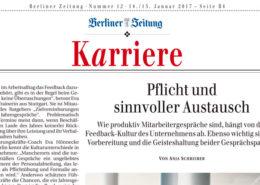 """""""Pflicht und sinnvoller Austausch"""" Artikel von Anja Schreiber Berliner Zeitung 14./15.01.2017 mit Expertenbeträgen von Eva Hönnecke"""