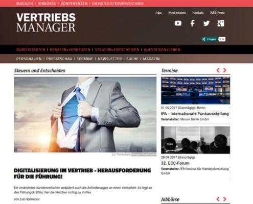 VERTRIEBSMANAGER online, 23.06.2017: Digitalisierung im Vertrieb - Herausforderung für die Führung! Autorin: Eva Hönnecke.