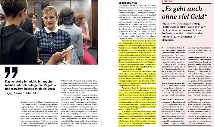 """VERTRIEBSMANAGER, Ausgabe 07/2016, Titelgeschichte """"Plötzlich Chef"""", Seite 10 - 16, mit Expertenstatements von Eva Hönnecke"""