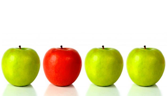 Führungskräftetraining Berlin von Eva Hönnecke; dargestellt anhand von Äpfeln. Copyright: Andres Rodriguez (panthermedia)